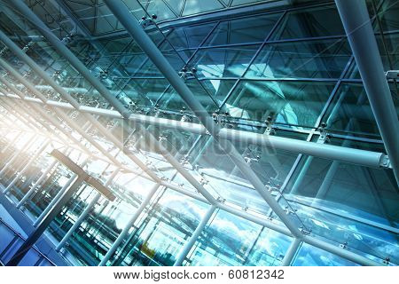 Glass tunnel, details of contemporary airport interior