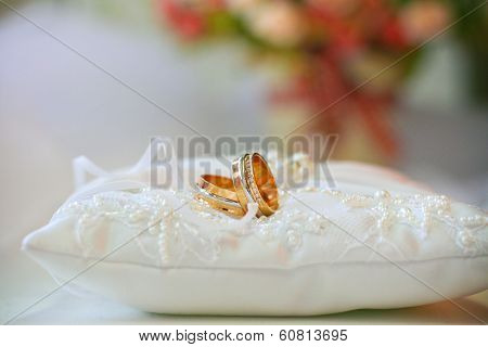 Wedding Rings On Cushion