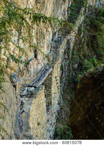 Old Inca's Bridge Near Machu Picchu