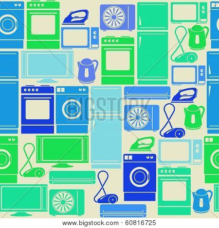 Seamless Retro Green Pattern With Domestic Electric Appliances