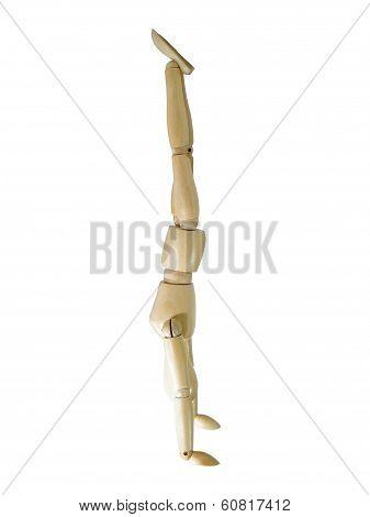 Handstanding Wood Puppet