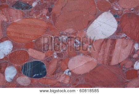 Red Marble With Roundish Impregnations