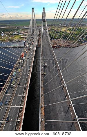 Cable Stayed Bridge, View From Above, Aerial View.