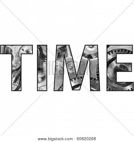 Time Text Word With Pocket Watch Inside