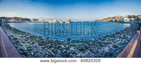 Panorama or the Corniche and Mutrah fort in Muscat