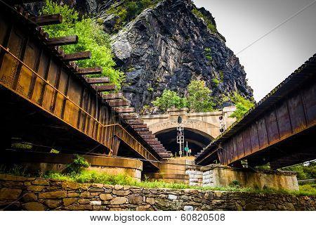 Train Bridges And Tunnel In Harper's Ferry, West Virginia.