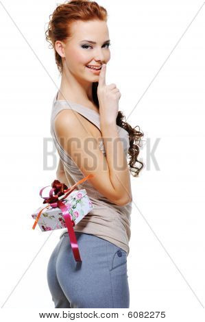 Pretty Woman Hide Behind Back The Present Box