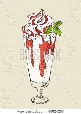 Milkshake with strawberry syrup
