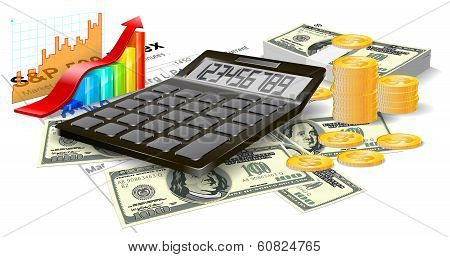 Calculator, Bills And Coins.