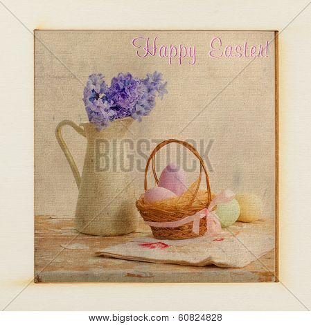 Old Easter card with basket