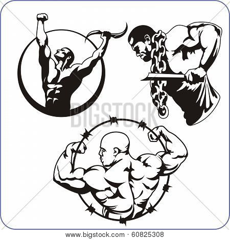 Bodybuilding and Fitness - vector illustration.