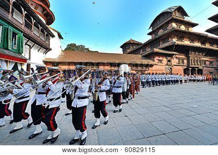 Nepali Musicians Marching