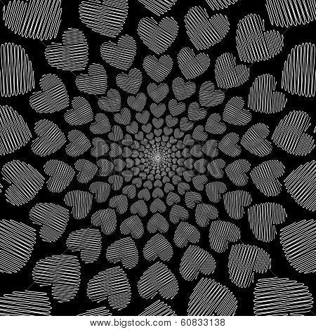 Design Doodle Monochrome Heart Helix Motion Background