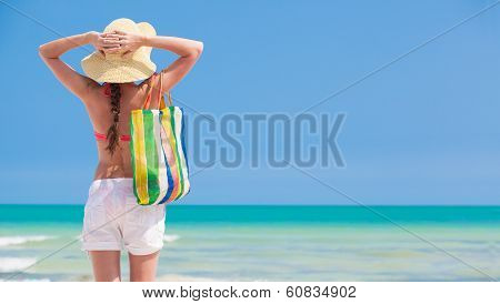 Woman in bikini and straw hat with beach bag standing on beach. back view