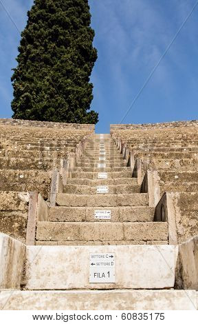Steps And Row Numbers In Pompeii Theater