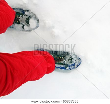 Blue Snow Shoes For Walking On Soft Snow Mountain High