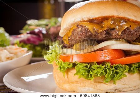 Cheeseburger With Cole Slaw