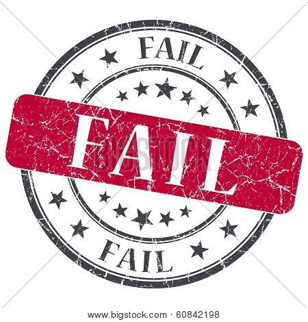 Fail Red Grunge Round Stamp On White Background