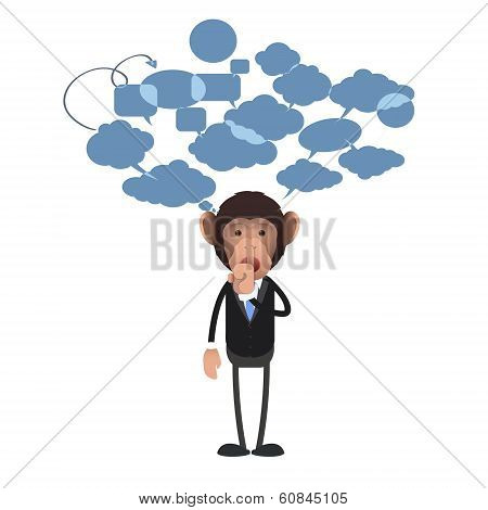 Business Monkey Making Silence Gesture Over White Background. Vector Design