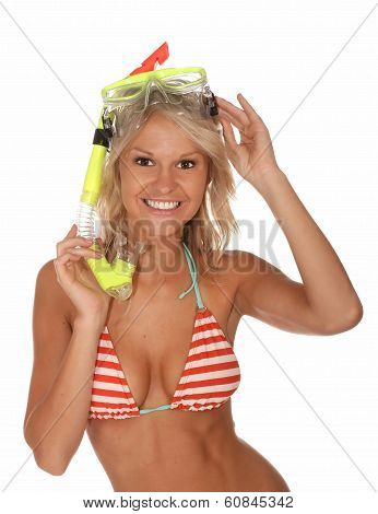 Bikini Girl With Scuba Mask