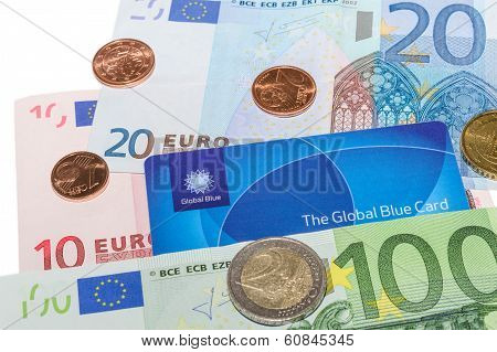 Global Blue Tax Free Card Against Euro Notes And Cent Coins