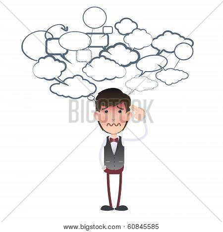 Businessman Commit Suicide Over White Background. Vector Design