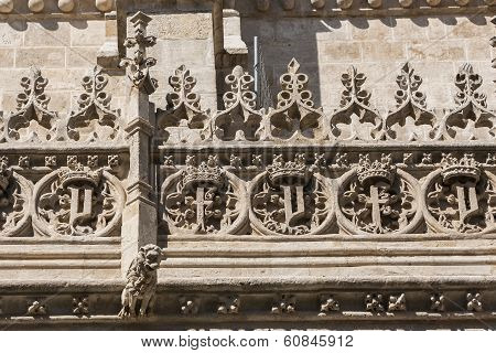 Gothic Crest In The Renaissance Facade Of Access To The Royal Chapel, Granada, Andalusia, Spain