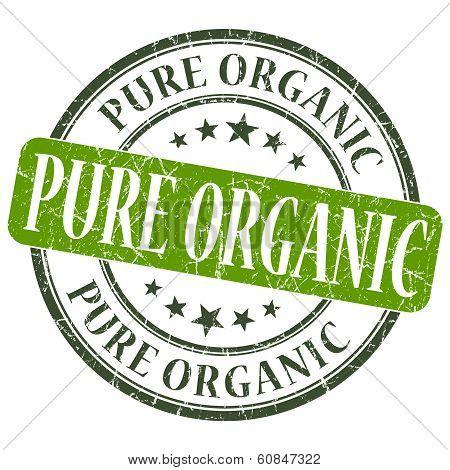 Pure Organic Green Grunge Round Stamp On White Background