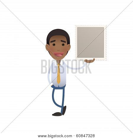 Businessman Holding A Stamp Over White Background