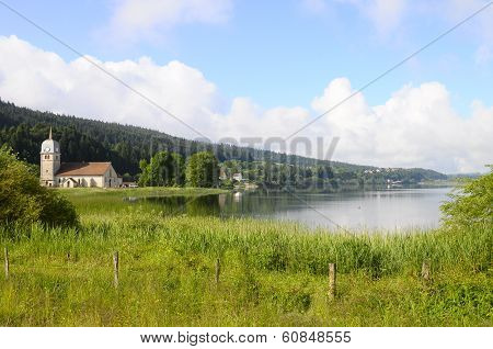 Beautiful Natural Landscape Of Abbey Lake In Jura, France