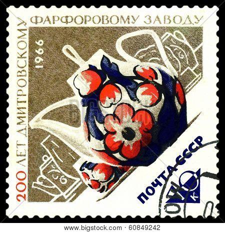 Vintage  Postage Stamp.  Porcelain Teapot.