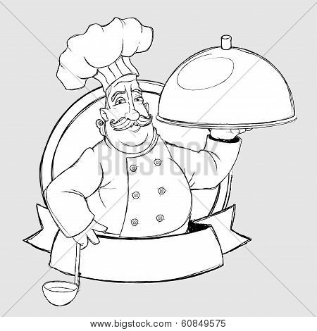 Chef with dish In the sign. Freehand drawing style