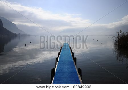 Blue Pontoon On Annecy Lake