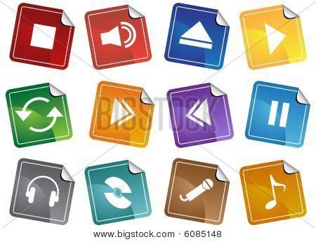 Media Player Sticker Icon Set