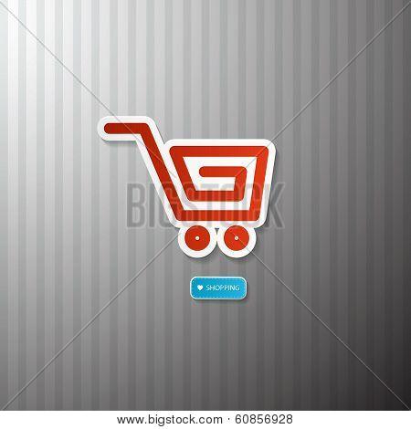 Shopping Cart, Basket Symbol. I Love Shopping.