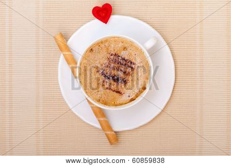 White Cup Coffe Waffle Roll With Cream Heart. Love Valentine's Day