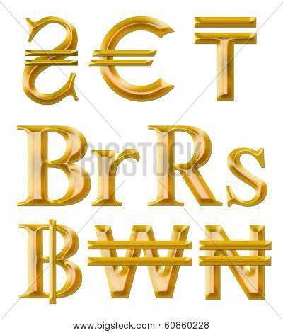 signs of currencies: hryvnia euro tenge ruble naira won baht