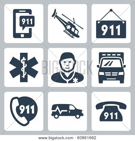 Vector Emergency Service Icons Set