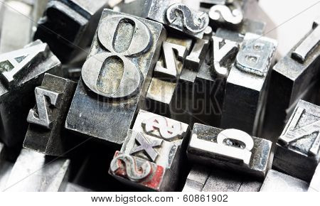 Metal Type Printing Press Typeset Obsolete Typography Text Letters