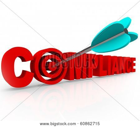 Compliance Word Target Arrow Aim Follow Rules Laws Guidelines