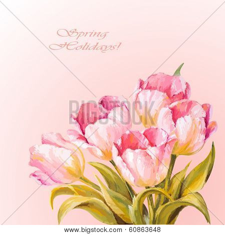 8 March. Tulips. Spring flowers invitation template card