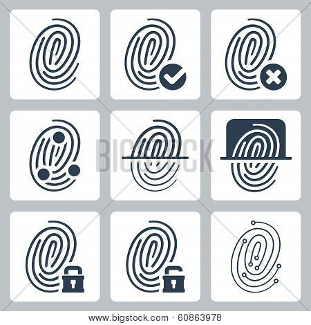 Vector Fingerprint Icons Set