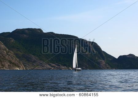 Sailing Boat in Lysefjord, Norway