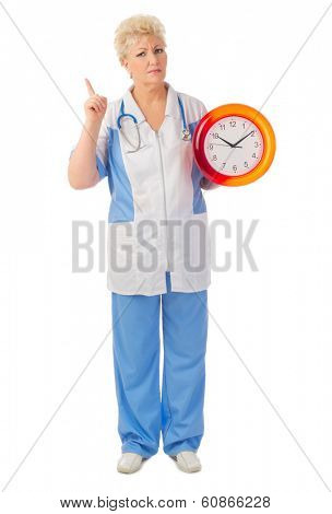 Mature doctor with clock isolated