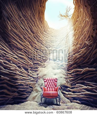 armchair in the hole, braided tree roots and sun light