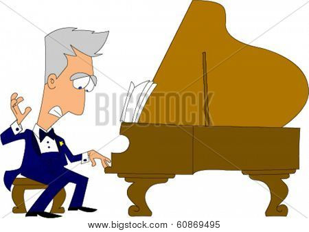 Suave man in tuxedo playing grand piano