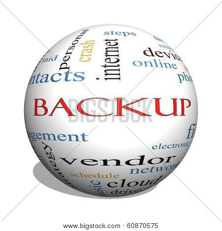Backup 3D Sphere Word Cloud Concept