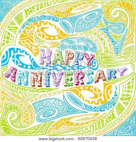Tiki style Happy Anniversary typography