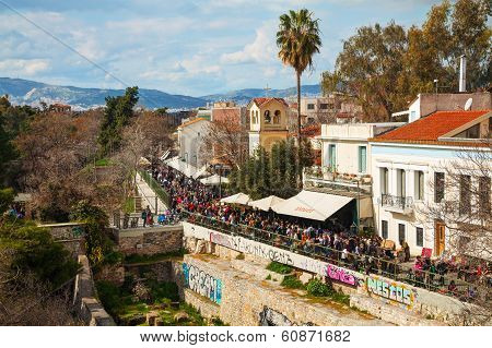 Street Of Athens With Tourists