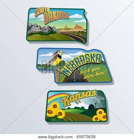 Retro travel stickers of United States South Dakota, Nebraska, Kansas